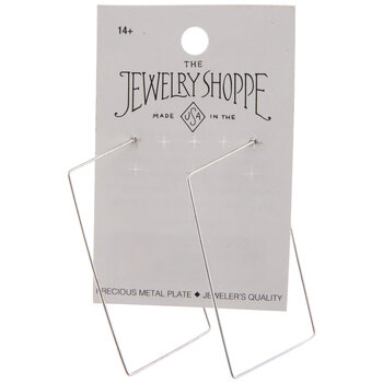 Sterling Silver Plated Rectangle Ear Wire