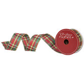 """Gold, Red & Green Plaid Wired Edge Ribbon - 1 1/2"""""""