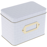 White Subway Tile Metal Recipe Box