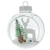 Snowy Deer Scene In Ball Ornaments