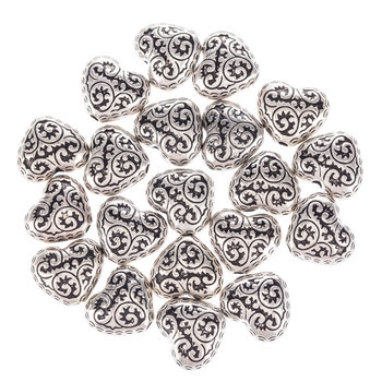 Carved Heart Beads - 14mm x 12mm