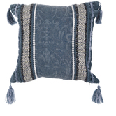 Blue & White Tasseled Jacquard Pillow Cover