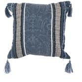 Blue & White Tasseled Jacquard Pillow Cover