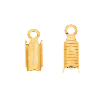 18K Gold Plated Textured Crimps - 13mm x 5mm