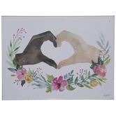 Hand Heart & Flowers Wood Wall Decor