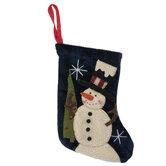 Mini Navy Snowman Stocking