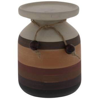 White & Brown Striped Vase Candle Holder