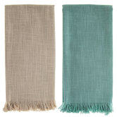 Aqua & Tan Slub-Weave Kitchen Towel With Fray
