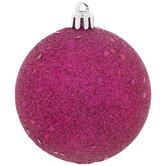 Hot Pink Glitter Ball Ornaments