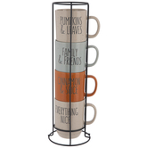 Pumpkin & Leaves Speckled Stacked Mugs