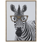 Zebra In Glasses Wood Wall Decor