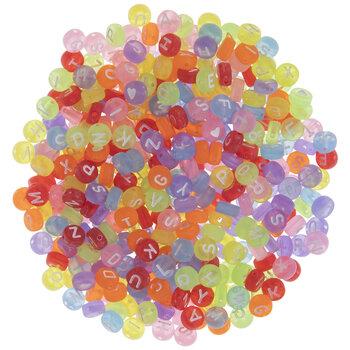 Bright Matte Round Alphabet Beads