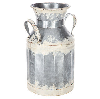 Distressed White Galvanized Metal Milk Can