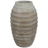 Distressed Metallic Ribbed Vase