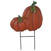 Pumpkin Metal Garden Stake