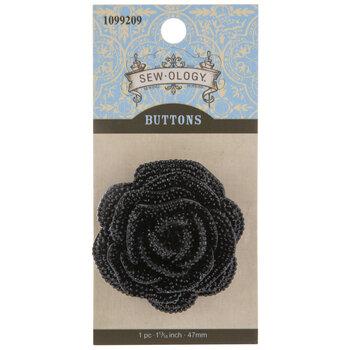 Black Rose Rhinestone Button - 47mm
