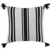 White & Black Striped Tassel Pillow