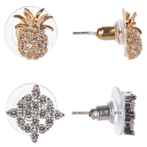 Pineapple & Pointed Square Rhinestone Earrings