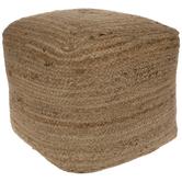 Braided Cube Jute Pouf Ottoman