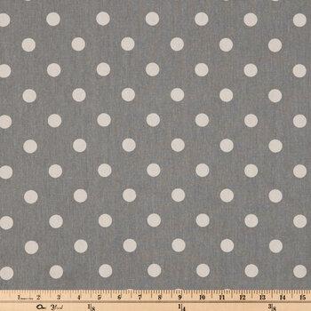 Storm Gray & Cream Polka Dot Duck Cloth Fabric