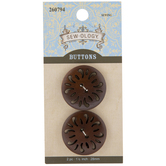 Brown Round Carved Wood Buttons - 28mm