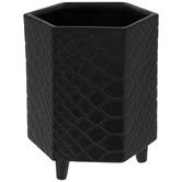 Matte Black Hexagon Alligator Print Container