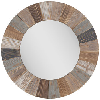 Round Wood Wall Mirror