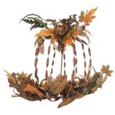Metal Pumpkin With Acorns & Leaves