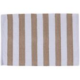 Beige & White Striped Rug