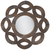 Round Scalloped Wood Wall Mirror