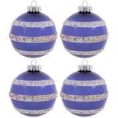 Blue & Confetti Striped Ball Ornaments