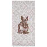 Beige Damask Kitchen Towel With Bunny