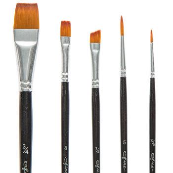 Gold Taklon Paint Brushes - 5 Piece Set