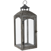 Gray Distressed Wood Lantern