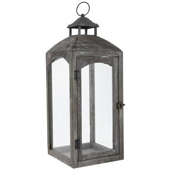 Gray Distressed Wood Lantern