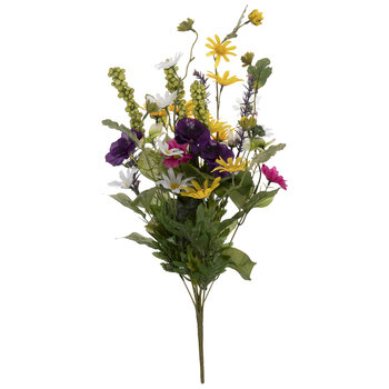 Yellow, White & Purple Daisy & African Violet Mix