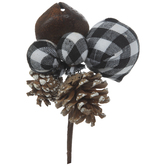 Buffalo Check Ball, Bell & Pinecone Pick
