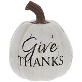 White Give Thanks Pumpkin