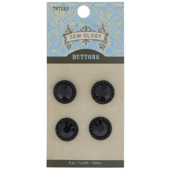 Round Glitzy Rhinestone Shank Buttons - 14mm