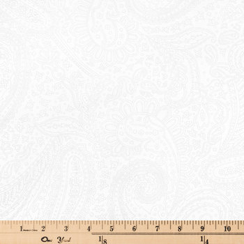 White Paisley Cotton Calico Fabric