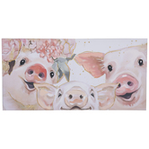 Pig Trio Selfie Canvas Wall Decor