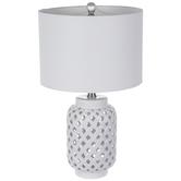 White Open Weave Lamp