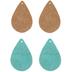 Aqua & Beige Teardrop Leather Earring Blanks