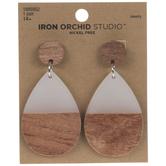 White & Wood Teardrop Earrings