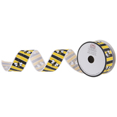 Striped Bees Wired Edge Grosgrain Ribbon - 1 1/2""