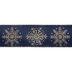 Navy & Gold Snowflake Wired Edge Sheer Ribbon - 2 1/2