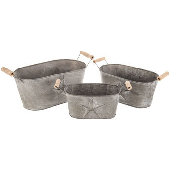 Galvanized Metal Oval Container Set