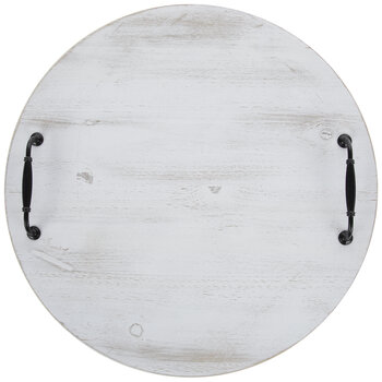 White & Black Distressed Round Wood Tray