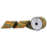 "Sunflowers Wired Edge Ribbon - 2 1/2"""