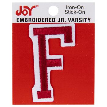 "Red Junior Varsity Letter Iron-On Applique F - 2"""